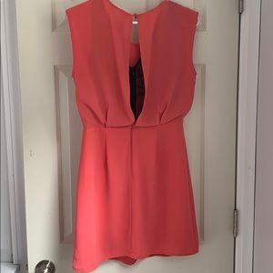 Francesca's Boutique Coral Dress with Lace Detail